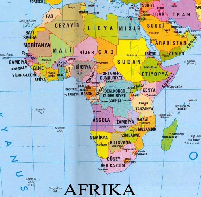 Afrika kıtası Siyasi harita