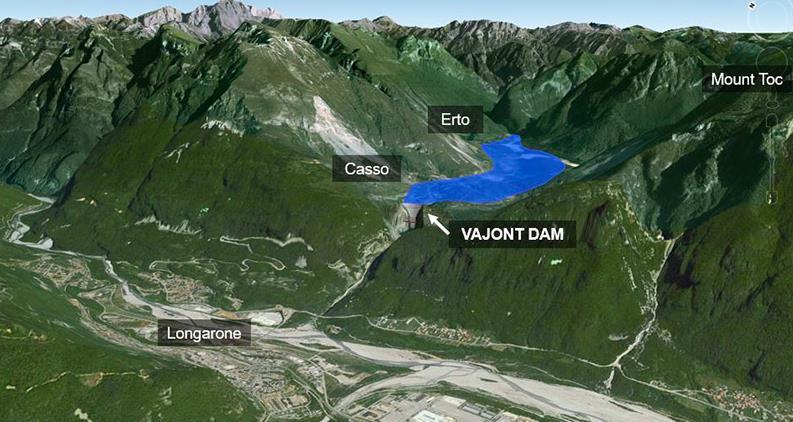 Vajont barajı dev tsunami ve sonucunda 2000 kişi öldü.