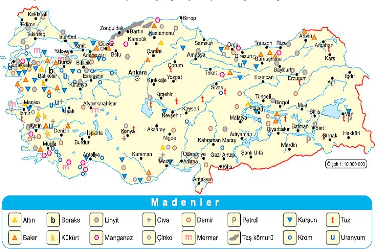 Türkiye'de En Çok Çıkarılan Madenler ve Madenlerin Çıkarıldıkları Yerler