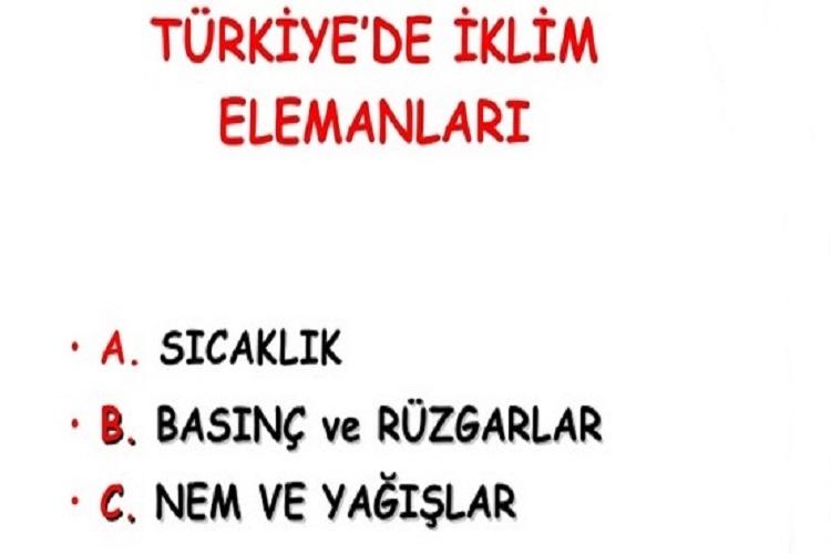 Türkiye'de İklim Elemanları